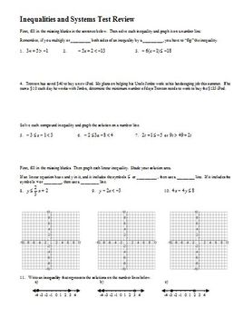 Inequalities and Systems Test Review Spring 2008 (Editable)