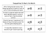 Inequalities in Real Life Word Problem and Graphing Match