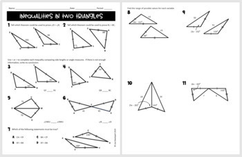 Inequalities in Two Triangles- digial assignment for use with Google Forms