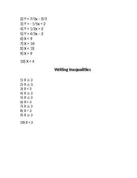 Inequalities practice