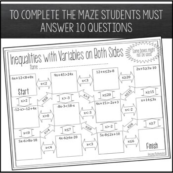 Inequalities with Variables on Both Sides Maze