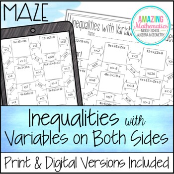 Inequalities with Variables on Both Sides Maze Worksheet by ...