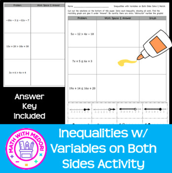 Inequalities with Variables on Both Sides Solve and Match Cut and Paste Activity