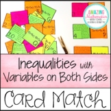 Inequalities with Variables on Both Sides Word Problem Matching Cards