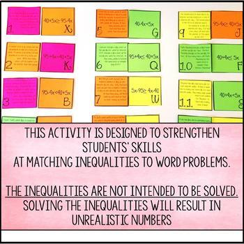 with Variables on Both Sides Word Problem Matching Cards