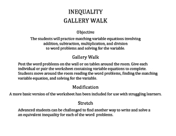 Solve & Graph Inequalities Gallery Walk: Word Problems