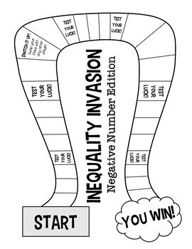 Inequality Invasion! A Solving Inequalities Board Game (Negative Number Edition)