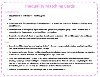 Inequality Match Cards