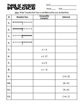 Inequality Notation - Practice