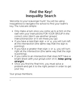 Inequality Phrases Scavenger Hunt