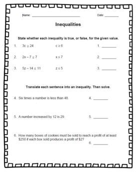 Inequality Quiz Inequalities Solving Graphing Inequalities Graph Solve Worksheet