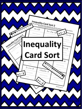 Inequality Solving Graphing Card Sort By Activities By Jill Tpt
