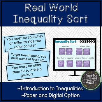 Introduction to Inequalities Sort--Real World Situations