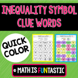 Inequality Symbol Clue Words Quick Color
