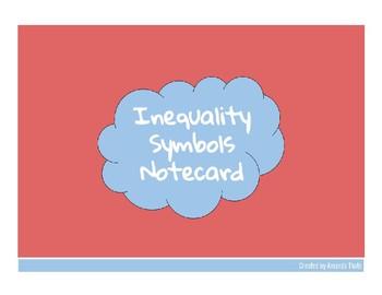 Inequality Symbols Notecard