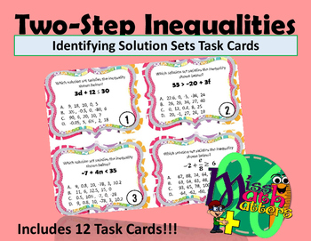 Inequality Task Cards | Identifying Solution Sets for Two-