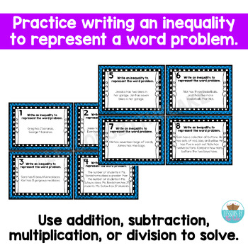 Inequality Word Problem Task Cards