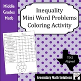 Inequalities Word Problems Coloring Activity