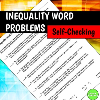 Inequality Word Problems Self-Checking Worksheet