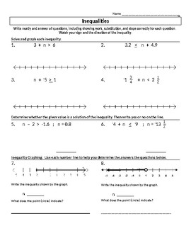 Inequality Worksheet - Addition and Subtraction