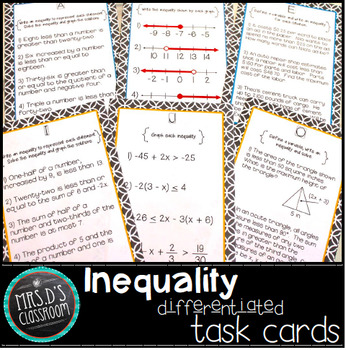 Inequality differentiated task cards