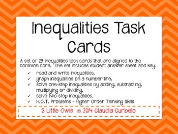 Inequalties Task Cards