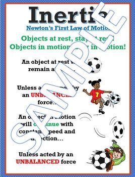 Inertia Newton's First Law Anchor Chart