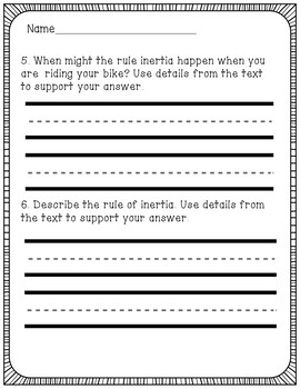 Inertia Reading Comprehension Activity