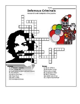 Infamous Cases Crossword Puzzle w/key