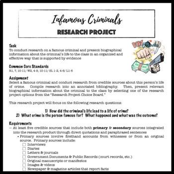 Infamous Criminals:  A Research Project