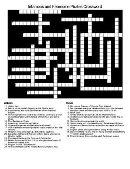 Infamous and Fearsome Pirates Crossword & Word Search