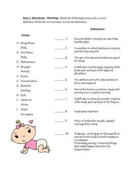 Infancy Vocabulary Quiz with Answer Key
