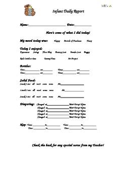 Infant Care Sheet