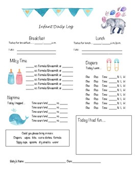 Comprehensive image throughout baby daily log printable