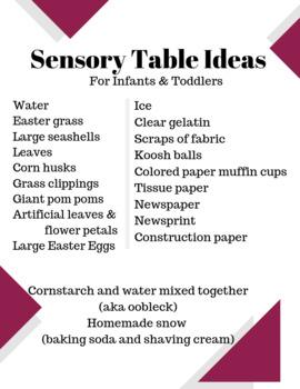 Infant & Toddler Sensory Table Ideas