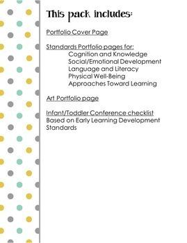 Infant Toddler Standards Portfolio Pack EDITABLE