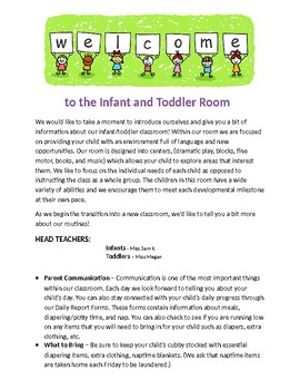 Infant/Toddler Welcome Letter