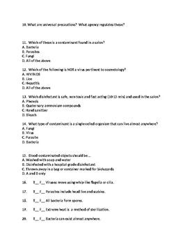 Infection Control Test Review Sheet