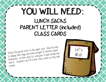 Getting to Know You Bags - A Back To School Activity