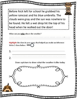 Inference short story inferring first grade