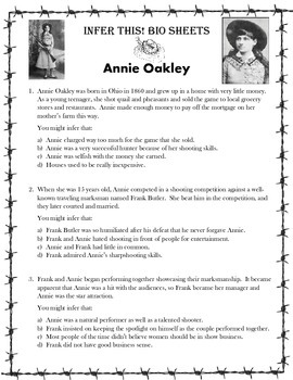 Infer This!  Annie Oakley Biography Sheet