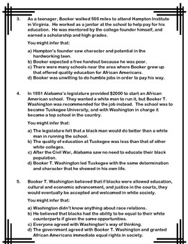Infer This!  Booker T. Washington Biography Sheet