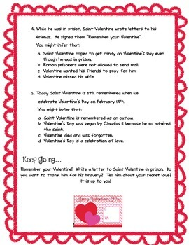 Infer This!  Saint Valentine Biography Sheet