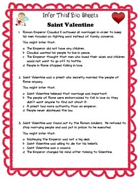 Infer This!  Saint Valentine Biography Sheet