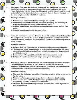 Infer This! Thurgood Marshall Biography Sheet