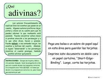 Inference Activity #4: Gleaning Information Cards - SPANISH