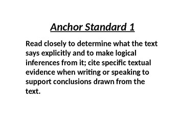 Inference: Anchor Standard 1