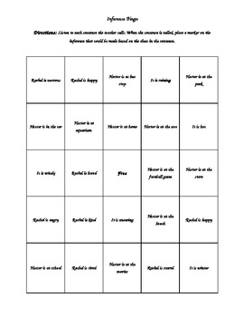 Inference Bingo Cards