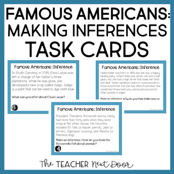 Inference: Famous Americans Task Cards for 3rd - 5th Grade
