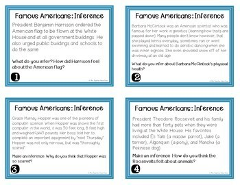 Inference: Famous Americans Task Cards | Inference Center Game